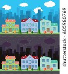 vector city with cartoon houses ... | Shutterstock .eps vector #605980769