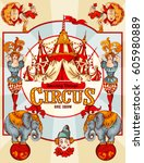 amazing vintage circus show... | Shutterstock .eps vector #605980889