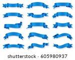 ribbon banner set.vector blue... | Shutterstock .eps vector #605980937