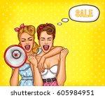 vector pop art illustration of... | Shutterstock .eps vector #605984951