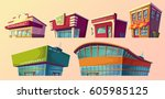 set of vector cartoon... | Shutterstock .eps vector #605985125
