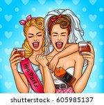 vector pop art illustration of... | Shutterstock .eps vector #605985137