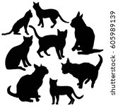 cat silhouettes   vector... | Shutterstock .eps vector #605989139