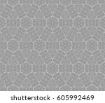 geometric pattern in floral... | Shutterstock .eps vector #605992469