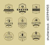 easter badges and labels vector ... | Shutterstock .eps vector #605994905