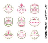 easter badges and labels vector ... | Shutterstock .eps vector #605994929