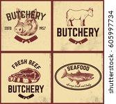 set of butchery  meat store ... | Shutterstock .eps vector #605997734