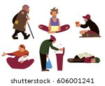 homeless people  tramps ... | Shutterstock . vector #606001241