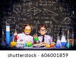 two little children scientists... | Shutterstock . vector #606001859
