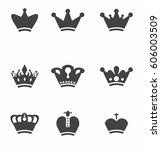 crown icons set . vector | Shutterstock .eps vector #606003509