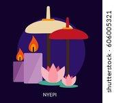 nyepi conceptual design | Shutterstock .eps vector #606005321