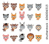 big set cute animals with big... | Shutterstock .eps vector #606006515