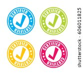 colorful certified stamp labels | Shutterstock .eps vector #606011825