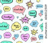 hand drawn set of speech... | Shutterstock .eps vector #606012509