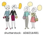 set of woman and friendship... | Shutterstock .eps vector #606016481