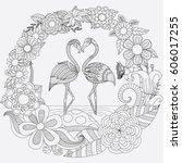 zendoodle design of two cute... | Shutterstock .eps vector #606017255