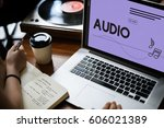 audio music streaming online... | Shutterstock . vector #606021389
