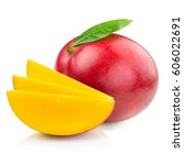 mango isolated on white... | Shutterstock . vector #606022691