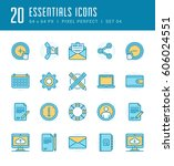 line icons set. flat thin...   Shutterstock .eps vector #606024551