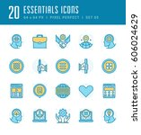 line icons set. flat thin... | Shutterstock .eps vector #606024629