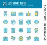 line icons set. flat thin...   Shutterstock .eps vector #606024641