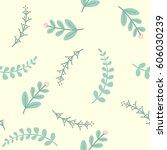 seamless leaves pattern   Shutterstock .eps vector #606030239