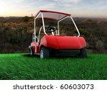 golf cart green grass - stock photo