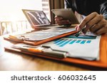businessman working with... | Shutterstock . vector #606032645