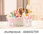 beautiful easter basket with... | Shutterstock . vector #606032705