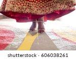 indian wedding. female foot... | Shutterstock . vector #606038261
