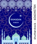 ramadan greeting card with the... | Shutterstock .eps vector #606040784