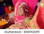 ceremonial in indian wedding ... | Shutterstock . vector #606042695