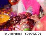 ceremonial in indian wedding ... | Shutterstock . vector #606042701