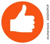 thumb up vector icon. flat... | Shutterstock .eps vector #606043919