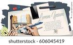 stock illustration. people in... | Shutterstock .eps vector #606045419