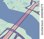 vector flat abstract city map... | Shutterstock .eps vector #606048275