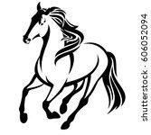 running horse black and white... | Shutterstock . vector #606052094