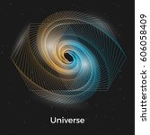 spiral galaxy illustration with ... | Shutterstock .eps vector #606058409