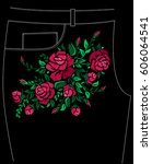 ethnic embroidery red rose... | Shutterstock .eps vector #606064541