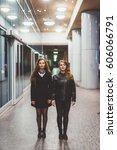two young beautiful caucasian... | Shutterstock . vector #606066791