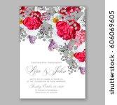 peony wedding invitation. red... | Shutterstock .eps vector #606069605