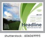 greenery brochure layout banner ... | Shutterstock .eps vector #606069995