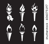torch icons set | Shutterstock .eps vector #606075197