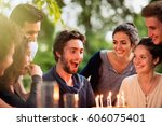 a group of young people... | Shutterstock . vector #606075401