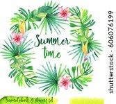 summer hand drawn watercolor... | Shutterstock . vector #606076199