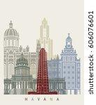 havana v2 skyline poster in... | Shutterstock .eps vector #606076601