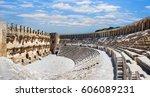 roman amphitheater of aspendos  ... | Shutterstock . vector #606089231
