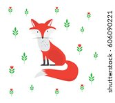 cartoon fox illustration | Shutterstock .eps vector #606090221
