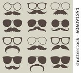 vector set of hipster mustaches ... | Shutterstock .eps vector #606091391
