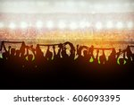 silhouettes of soccer or rugby... | Shutterstock . vector #606093395